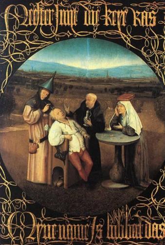 Hieronymus Bosch, La cura della follia, 1480, Madrid, Museo del Prado